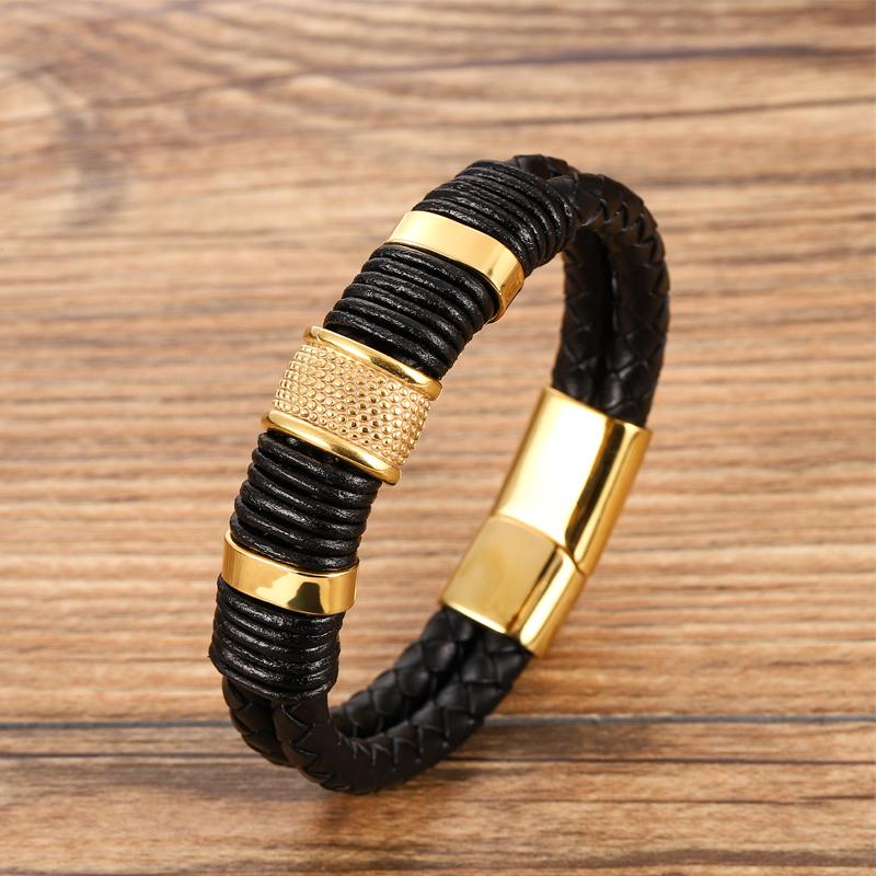 MingAo stainless steel charm magnetic black bangles for men leather leather woven punk rock bangles jewelry accessories friends