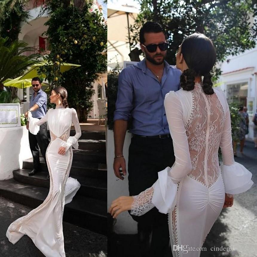 2020 Sexy Inbal Dror Mermaid Wedding Dresses High Neck Lace Court Train Long Sleeves Illusion Bohemian Wedding Dress Custom Made Bridal Gown