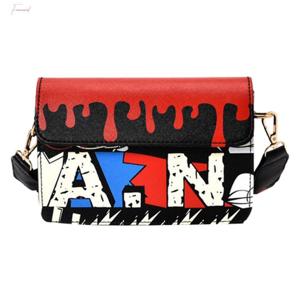 New Impression européenne et Graffiti American Fashion Petite Place Sac Couleur Femme Large épaule épaule Messenger Bag T2