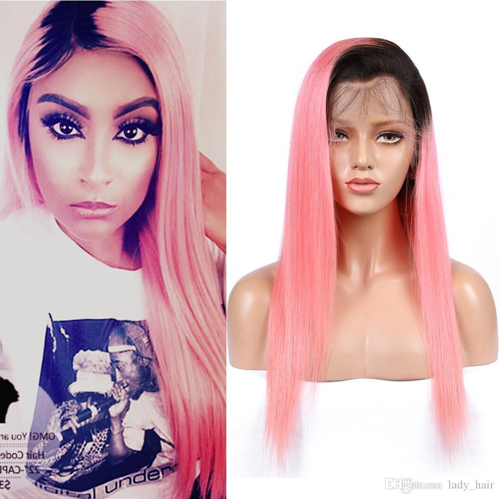 Ombre Rosa Peruanisches Menschenhaar Lace Front Perücken mit Babyhaaren # 1B / Pink Dark Roots Ombre Gerade Volle Spitzeperücken Glueless 130 Dichte