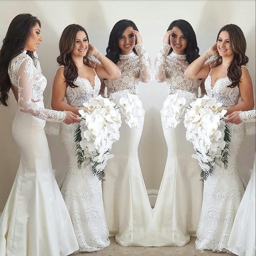 Venda quente Vintage Mermaid Bridesmaids Vestidos alta Long Neck Sleeve Applique Two Piece vestidos de noiva Moda Satin longa do vestido de casamento Visitante