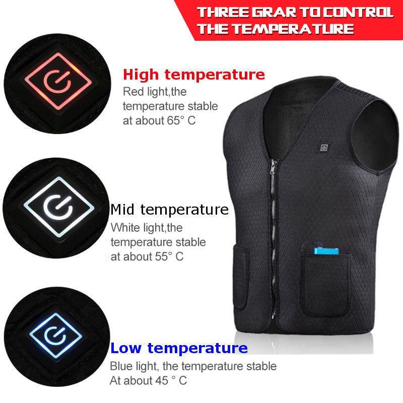 Unisex Electric Battery Heating USB Sleeveless Vest Winter Heated Outdoor Jacket