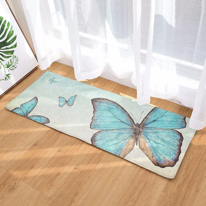Главная мода бабочка печати коврик длинный коврик для Земли офис домашнего декора ковер Кухня Ванная комната Нескользящий коврик ковер