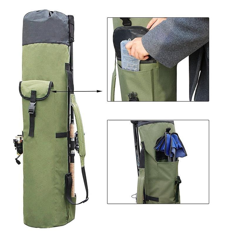 Fishing Bags Portable Multifunction Nylon Fishing Rod Storage Case Canvas Reel Organizer Travel Carry Pole Tools Bag