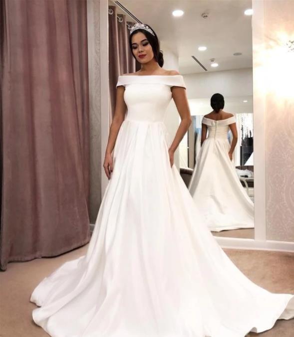 라인 플레인 신부 가운 아메리칸 비치 오픈 다시 웨딩 드레스와 포켓 터키 이스탄불 간단한 새틴 웨딩 드레스