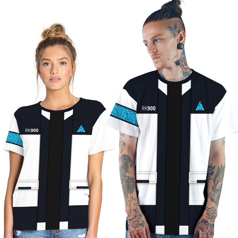 للجنسين الرجال النساء T قميص لعبة ديترويت اصبح كونور الإنسان RK900 وكيل الموحد تي شيرت ازياء تأثيري قصيرة الأكمام بلايز تريند حجم XS-7XL