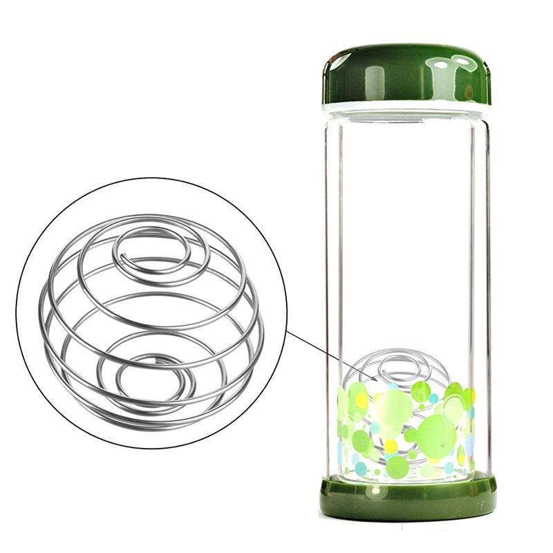 الفولاذ المقاوم للصدأ خفقت الكرة 4.5 * 5CM الربيع الكرة اثارة الكرة شاكر مختلط زجاجة البروتين زجاجة المياه للياقة البدنية الإبداعية خلط بار شرب Gadg