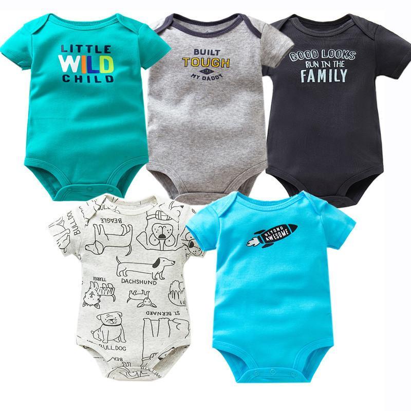 5 Pcs / lot Body Coton Infantile Combinaison À Manches Courtes Nouveau-Né Vêtements D'été Bébé Filles Garçons Vêtements 6-24 mois Q190520