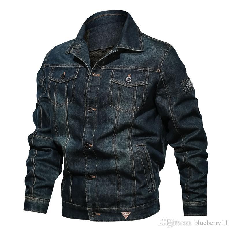 Lässige Herren Jeansjacke Größe gewaschene Knöpfe Mehrfachtasche Revers Jacke Langarm Volltonfarbe Herbst