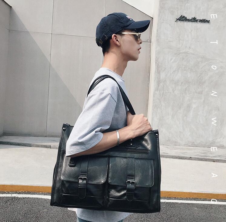 Factory wholesale brand bag leisure double pocket Korean style handbag multifunctional leather handbag large capacity leather business bag