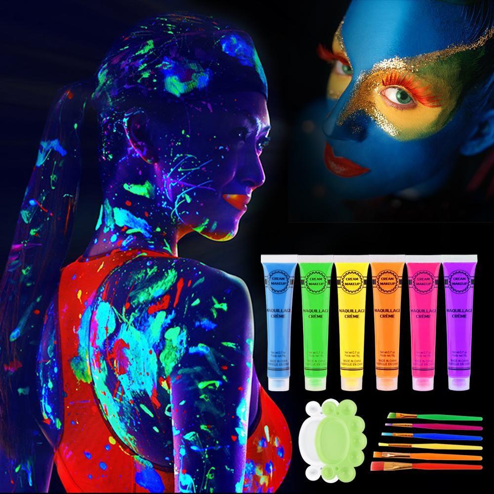 6PCS 6 ألوان الأشعة فوق البنفسجية ضوء أسود رد الفعل الجسم الوجه الوهج الطلاء حزب الفن نادي هالوين اللباس ماكياج مضيئة متوهجة كيت الرسم
