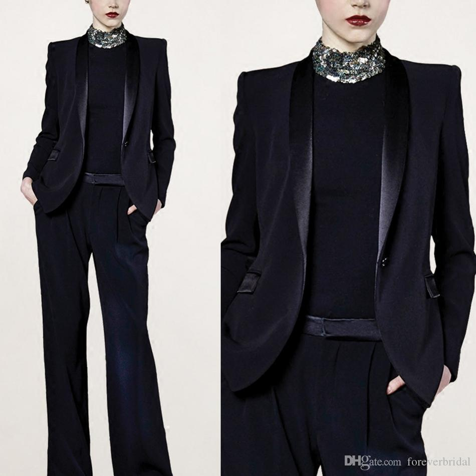 Black New Cool Pants Suits Mother Of The Bride Dresses Formal Tuxedos Party Business Wear Two Pieces (Jacket+Pants)