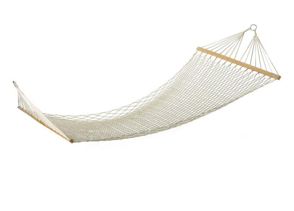 White Cotton Rope Swing Hammock Hanging on the Porch or on a Beach Outdoor Indoor Hammocks