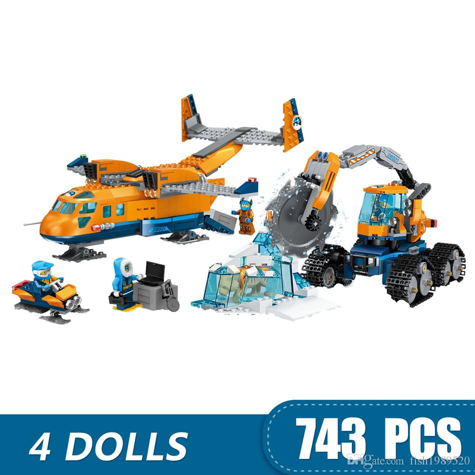 743PCS Small Building Blocks Toys Compatible with Legoe Arctic Supply Plane Gift for girls boys children DIY