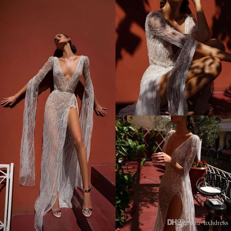 Inbal Dror Beach Wedding Dresses V Neck Lace High Split Illusion Bodice Floor Length Bohemian Wedding Dress Long Sleeve Bridal Gowns 4312