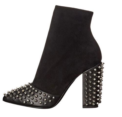 Hot Sale-Black Rock Rivetti design in pelle scamosciata a punta Donne tacco grosso Chic caviglia Booties