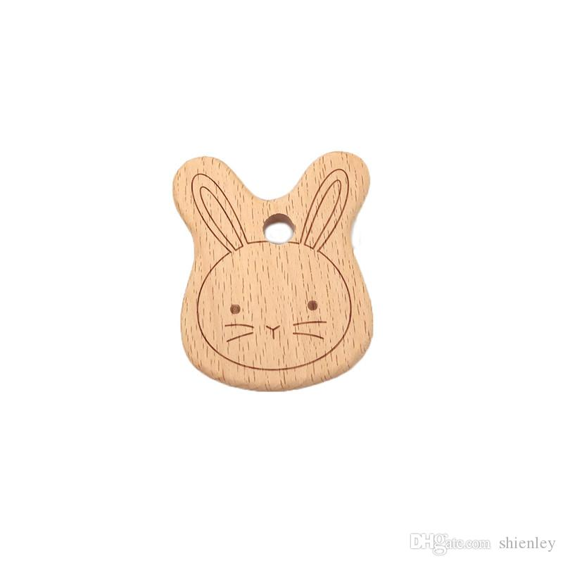 New Baby Kid Natural Wooden Teether Animal Shape Handmade Teething Toy Shower 6A