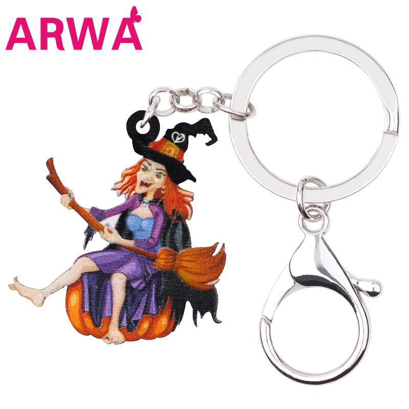 Monedero ARWA acrílico de Halloween de la bruja del animado llaveros bolsa de coches calabaza regalos llavero anillo llaveros para la decoración de la joyería muchachas de las mujeres