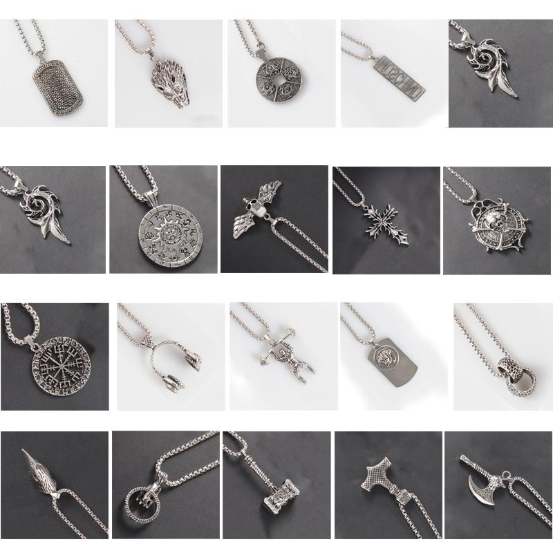 19-colour European and American Chao brand jewelry pendant necklace men and women hip-hop maple leaf skeleton small jewelry