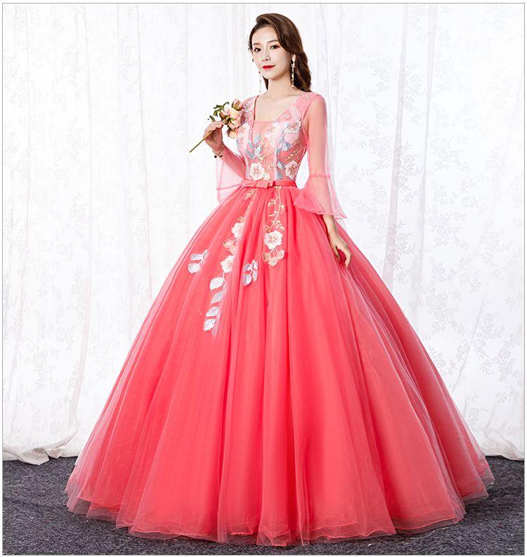 Freeship Wassermelone rot Stickerei Prinzessin Perlen Kleid mittelalterlichen Kleid Renaissance Kleid Sissi Prinzessin Victorian / Marie Ball
