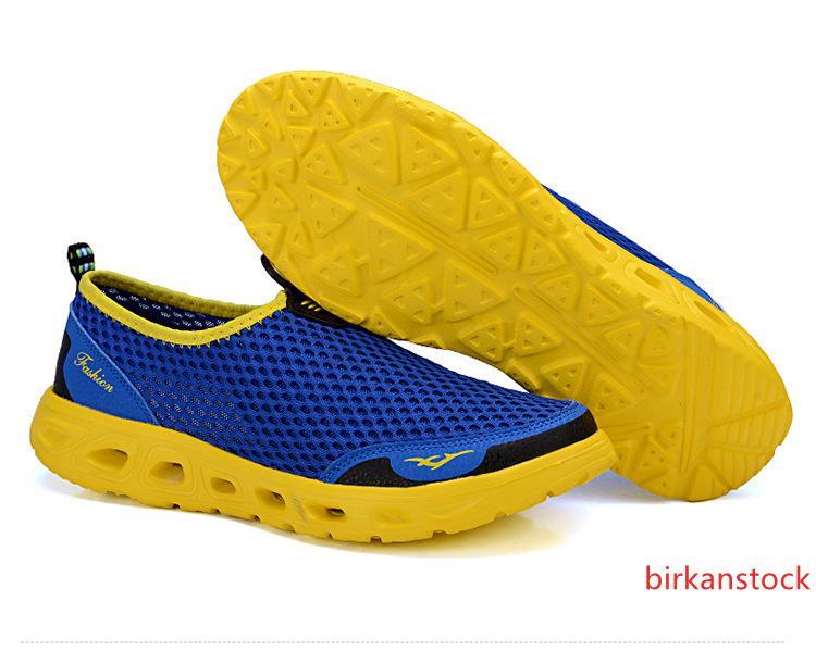 manzana verde zapatos al aire libre del Aqua de malla transpirable zapatos de las zapatillas de agua Calzado ligero de secado rápido de los hombres de verano de playa Agua