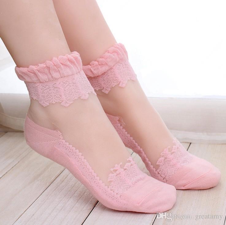 Kızlar Dantel Fırfır Ayak Bileği Çorap Yumuşak Rahat Sırf Ipek Pamuk Elastik Örgü Örgü Fırfır Trim Şeffaf kadın çorap