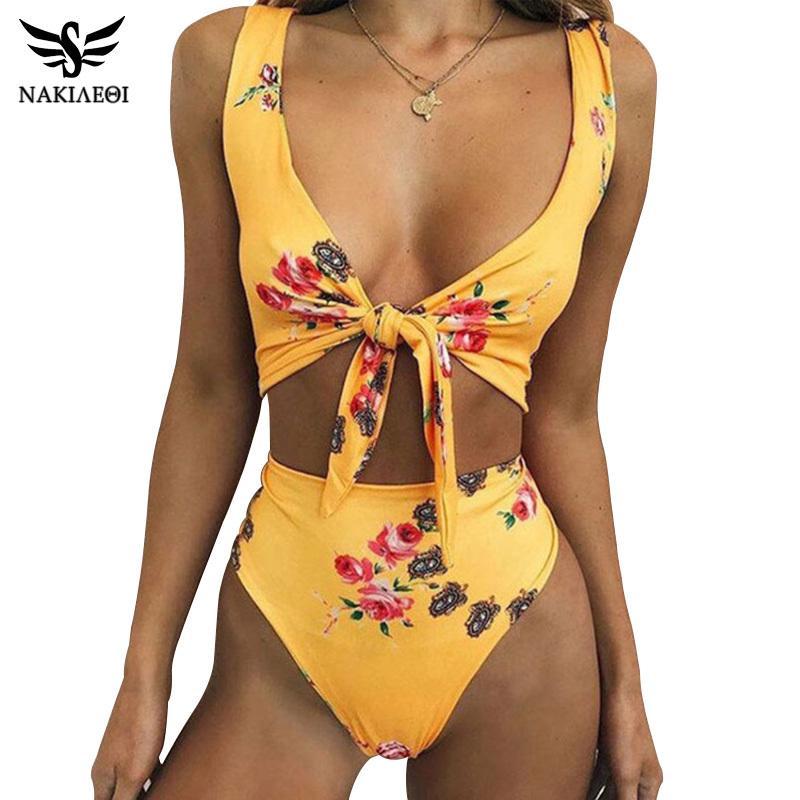 NAKIAEOI Yüksek Bel Mayo 2019 Yeni Seksi Print Bikini Bayan Mayo Push Up Mayo Plaj Giyim Brezilyalı Bikini Seti LY191224