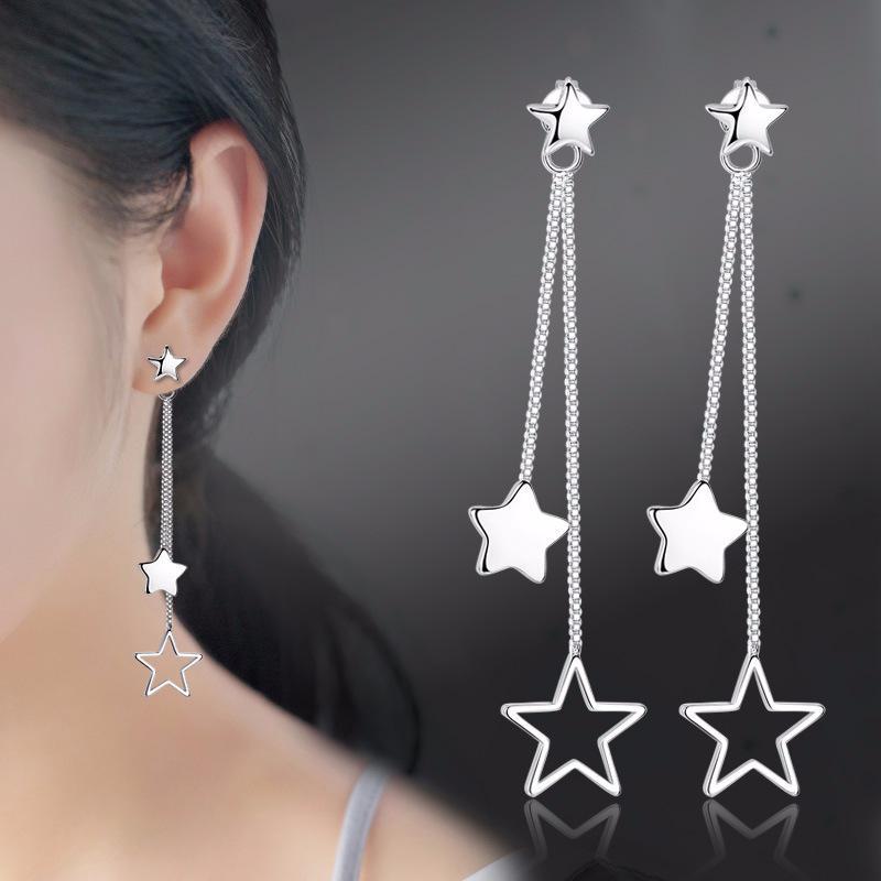 Nouveaux bijoux de mode cinq étoiles boucles d'oreilles à longue chaîne Tassel Star Design Dangle boucles d'oreilles vente chaude 350006