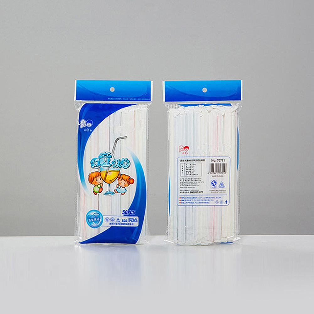 50 PC / Los Saft Einweg-Kunststoff-Strohhalme umweltfreundliche Qualität Biegsame Stroh Strohhalmen trinken