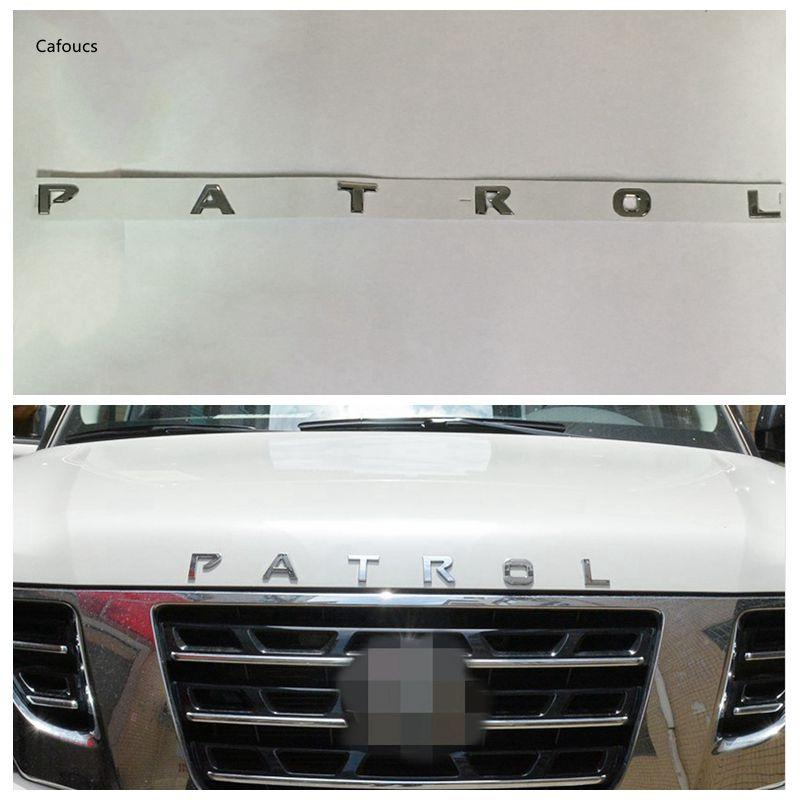 ABS Chrome Front Hood Letter Patrol Emblem for Nissan Patrol Armada Y62 Accessories 2013 2014 2015 2016 2017
