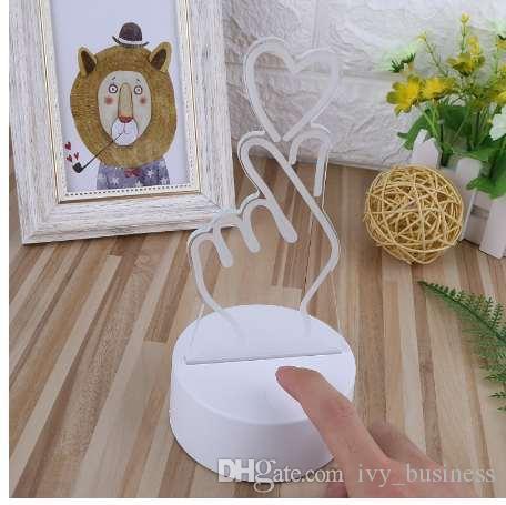 USB Nouveauté 7 couleurs Changement doigt coeur LED Veilleuse bureau 3D Lampe de table Home Décor Goutte SHIP