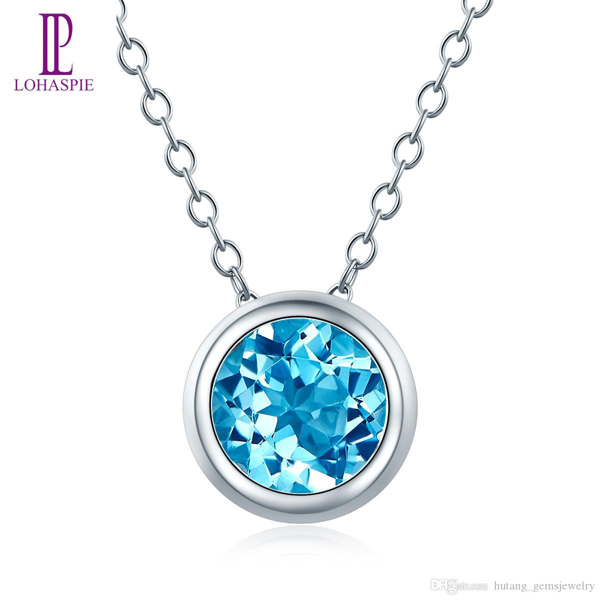 925 قلادة فضية قلادة للنساء مجوهرات هدية الأحجار الكريمة الطبيعية جولة السويسري الازرق توباز الجميلة الصلبة مجوهرات الجملة الجديدة