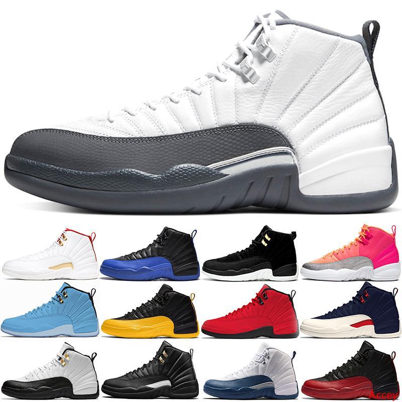 Sapatos homens Basquetebol 12 Chaussures 12s da obscuridade dos homens Branco cinzento do jogo Real reverso Taxi Hot perfurador Gym Red treinadores desportivos Sneakers Tamanho 40-47