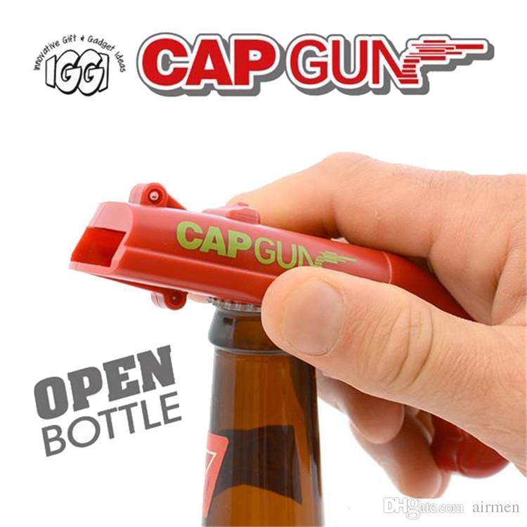 Bottle Opener Beer Flying Cap Gun Firing Cap Launcher Drink Shooter Multicolor
