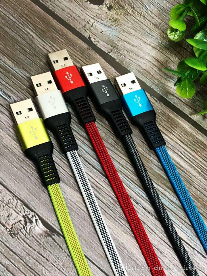 Type C Micro USB Cable 1M 3FT Woven Braided Nylon Noodles 2.0A Hybrid Color for Smart Phone 200PCS/LOT