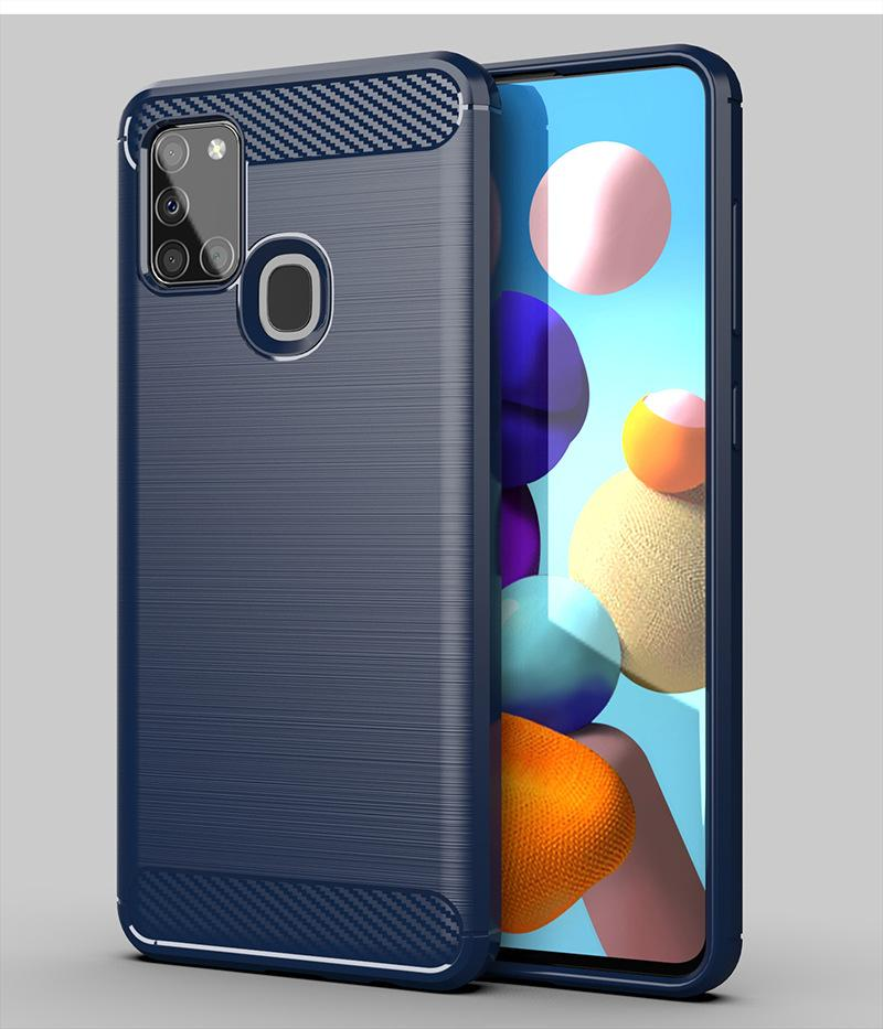 Fibra de Carbono Textura Slim Armor Escova TPU Capa para Samsung Galaxy S30 + S30 Ultra A12 5G A71 5G UW 100 pçs / lote
