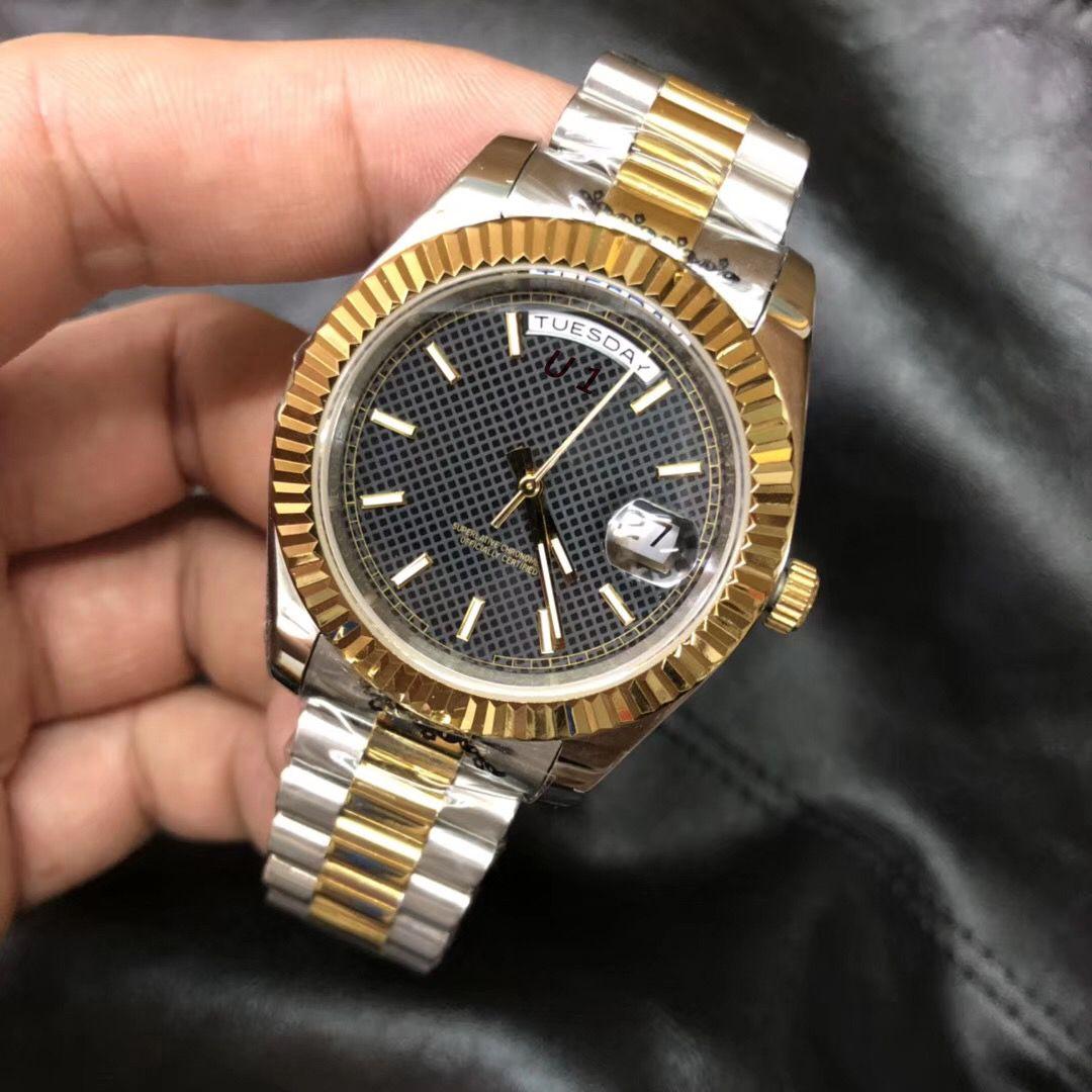두 톤 대통령 팔찌 날짜 남성 시계 40MM 발광 블랙 다이얼 시계 스크래치 방지 사파이어 크리스탈 자동 손목 시계