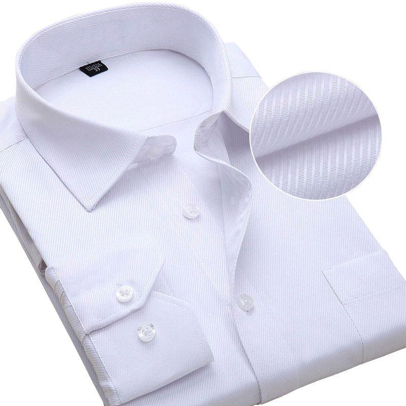 Plus Size Homens de Manga Longa Vestido de Moda Masculina de Negócios Vestuário Formal Camisas de Trabalho de Escritório 6xl 7xl 8xl Camisa Branca Q190517