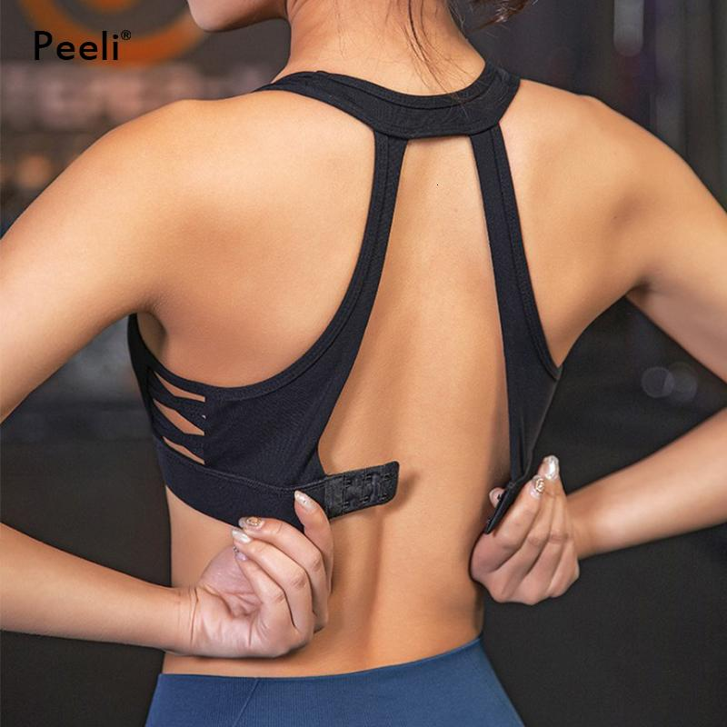 Peeli High Support Sports Bra Top Women Hollow Out Padded Yoga Bras Fitness Gym Bra Crop Tops Soutien Gorge Sport Bh Active Wear T191116