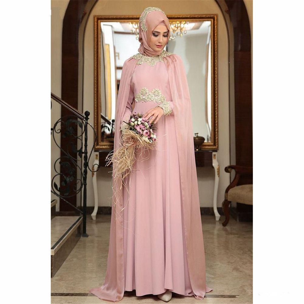 Árabes muçulmanos vestidos de noite árabe com Hijab Prom Vestido com apliques de renda Pavimento Length Prom Dress manga comprida Chiffon vestidos de noite