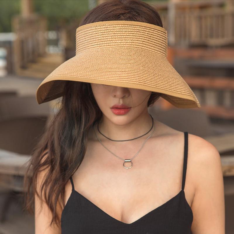 casquette Brand Spring Summer Visors Cap Foldable Wide Large Brim Sun Hat Beach Hats for Women Straw Hat Wholesale Chapeau