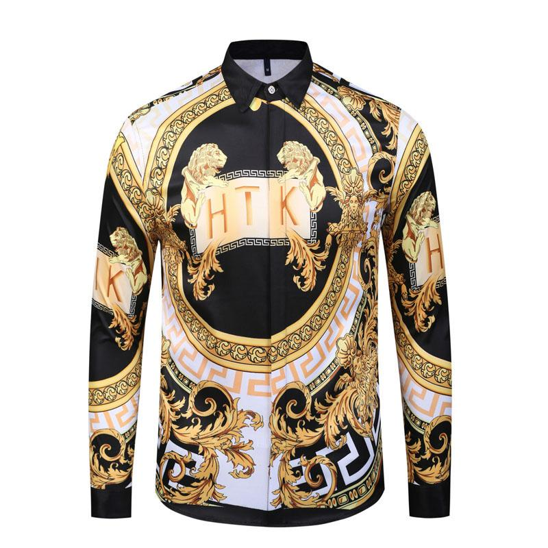 2019 Estilo clásico italiano Medusa Camisa de pol Estampado floral Colores Lujo Casual Harajuku Camisa de manga larga para hombre Medusa