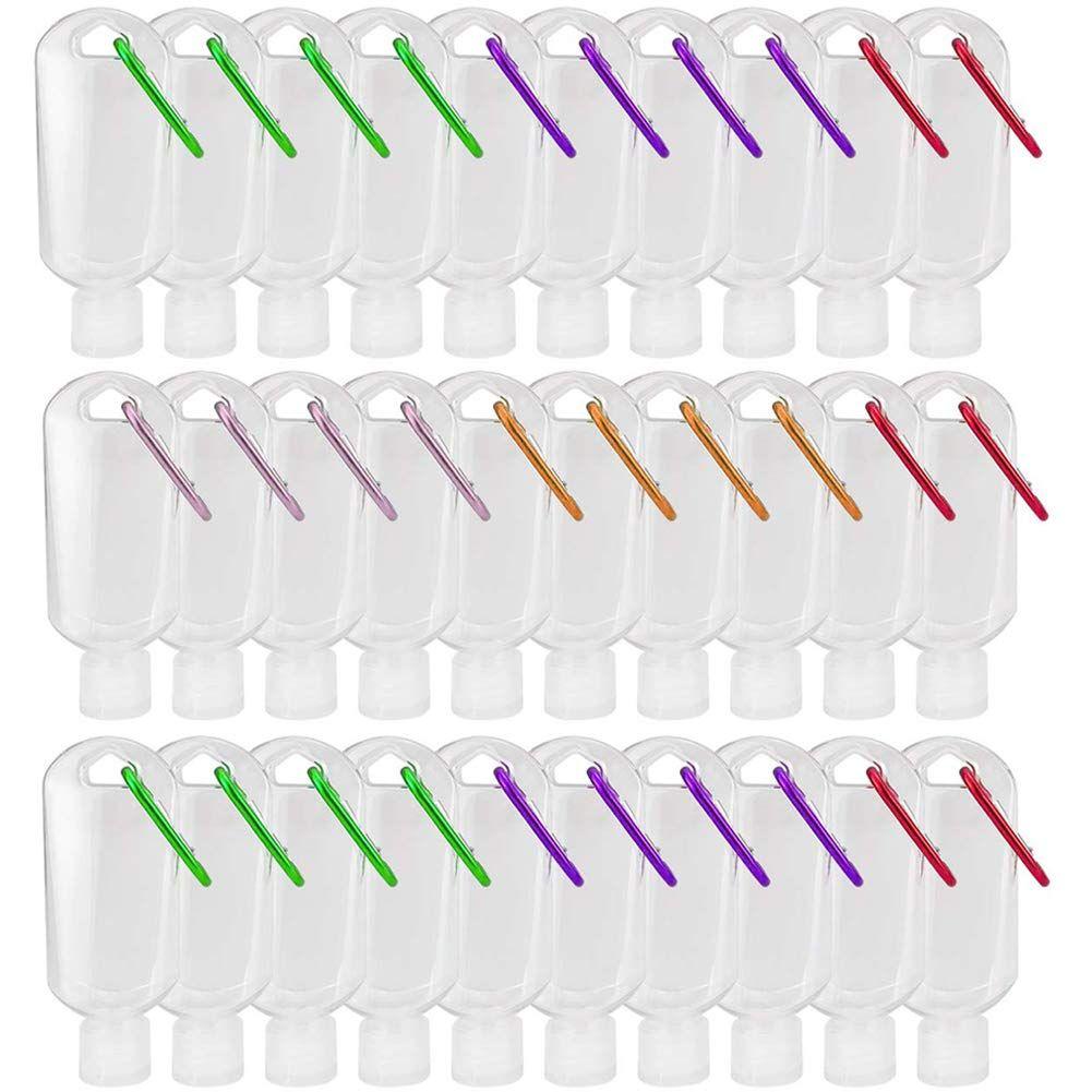 30ML / 50ML / 60ml의 여행 플라스틱 클리어 키 체인 손 소독제 병, 플립 캡 리필 빈 병 휴대용 짜기 컨테이너