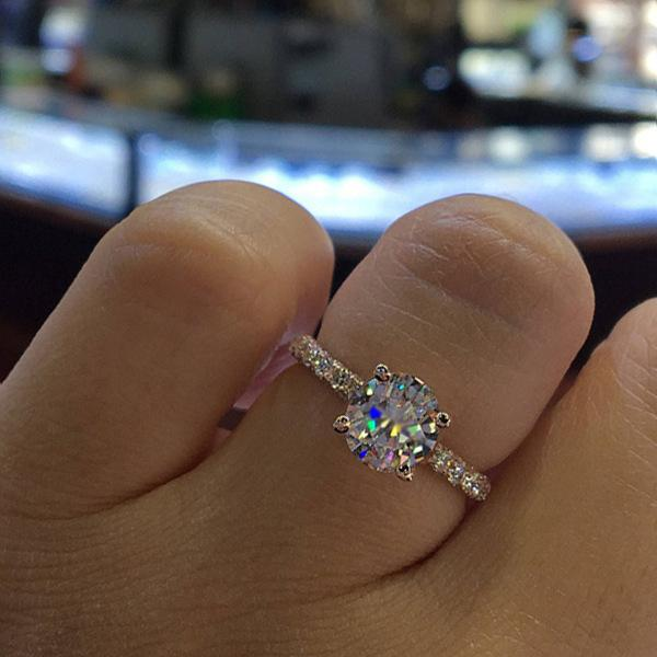 Taille 5 Bague de mariée de luxe cubique mariage zircons Anneaux d'argent pour femme Charm or rose engagement doigt Bijoux