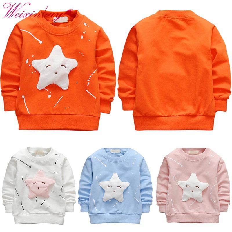 ملابس اطفال نمط طويل كم O-الرقبة تي شيرت الربيع خريف وشتاء جميل مطبوعة خمس نجوم الاطفال الأحرف الطفل