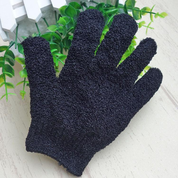 Цвет черный Пилинг перчатки скруббер Пять пальцев Exfoliating Tan Удаление Ванна Полуперчатки Пэдди Soft Fiber массажная ванна перчатки очиститель