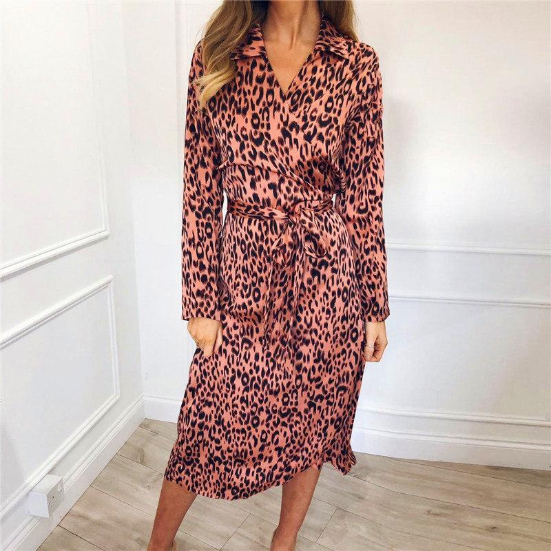 Vestito chiffon progettista vestiti dalle donne vestiti del partito leopardo Twill Abito casuale delle donne Midi Girare giù la camicia Abiti Verano