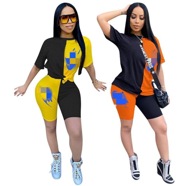 женская спортивная одежда с коротким рукавом наряды рубашка шорты из двух частей набор узкая рубашка брюки спортивный костюм пуловер колготки горячие продажи klw3545