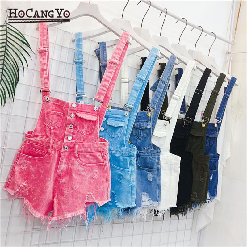 Hcyo Denim Rompers Womens Jumpsuit Short Overalls For Women Rompers Large Size Hole Playsuits And Jumpsuits For Girls Overalls Y19071801