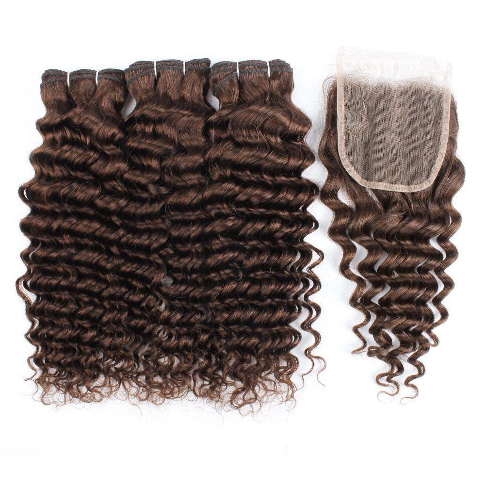 Kisshair # 4 темно-коричневые глубокие волны волос пучков с clousre 100% индийскими утками волос людей с закрытием 4 * 4 кружева